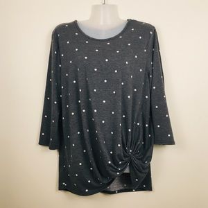 Grey polka dot long sleeve top knot front size L